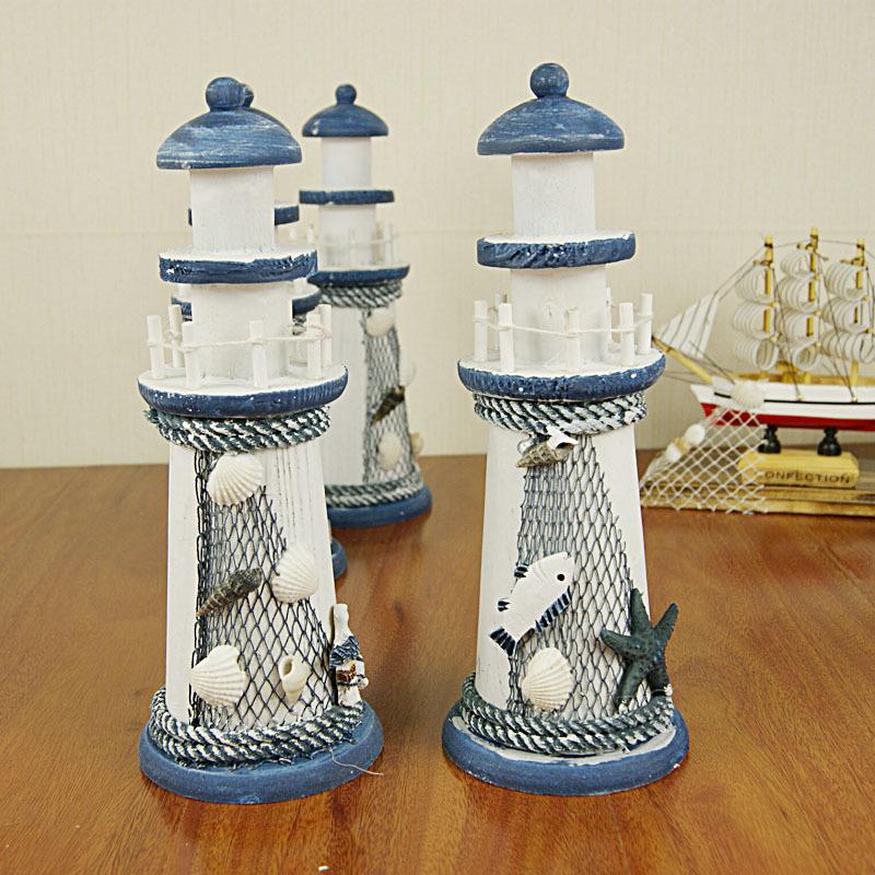 正品 小灯塔 欧式地中海风格木质做旧灯塔家居装饰品