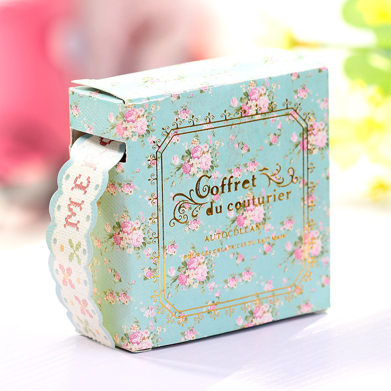正品 时尚盒装纸卡通胶带 可爱小清新韩版花边胶带 热销中 颜色混发