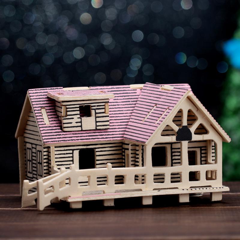 正品 房子造型立体木质拼图 少儿礼物益智玩具diy建筑模型 颜色混发