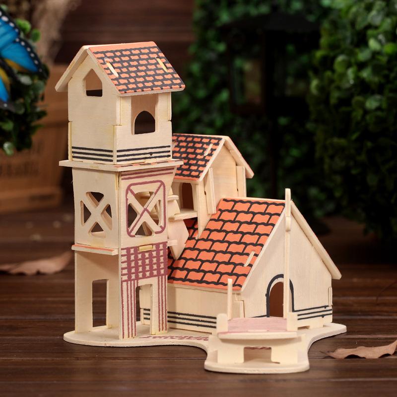 正品 古典房子造型立体拼图 精致儿童益智玩具建筑模型 颜色混发
