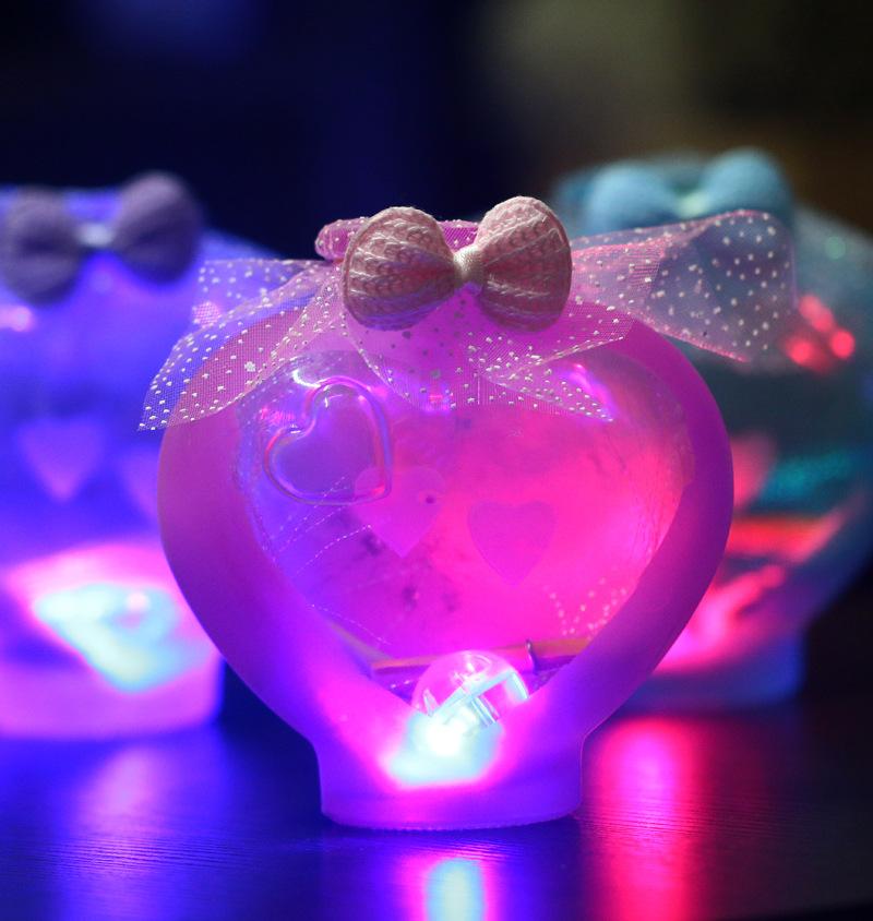 正品 创意领结闪光桃心许愿瓶 多彩玻璃摆件 七彩幸运