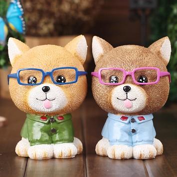 正品 可爱眼镜猫存钱罐 时尚树脂摆件 居家可爱桌面工艺品 颜色混发