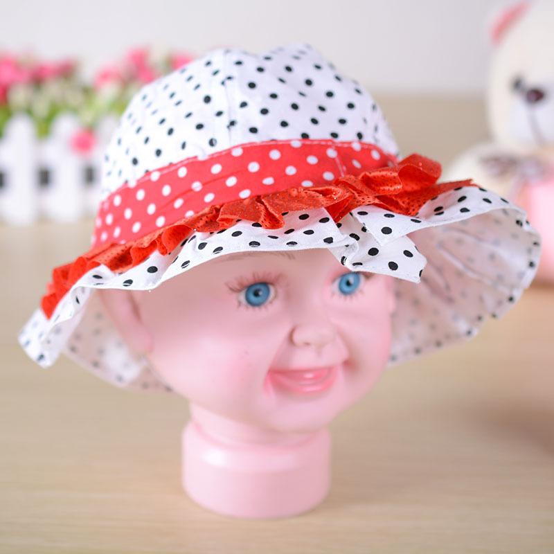正品 粉色领结圆点儿童帽 男女圆顶帽宝宝夏季凉帽 颜色混发