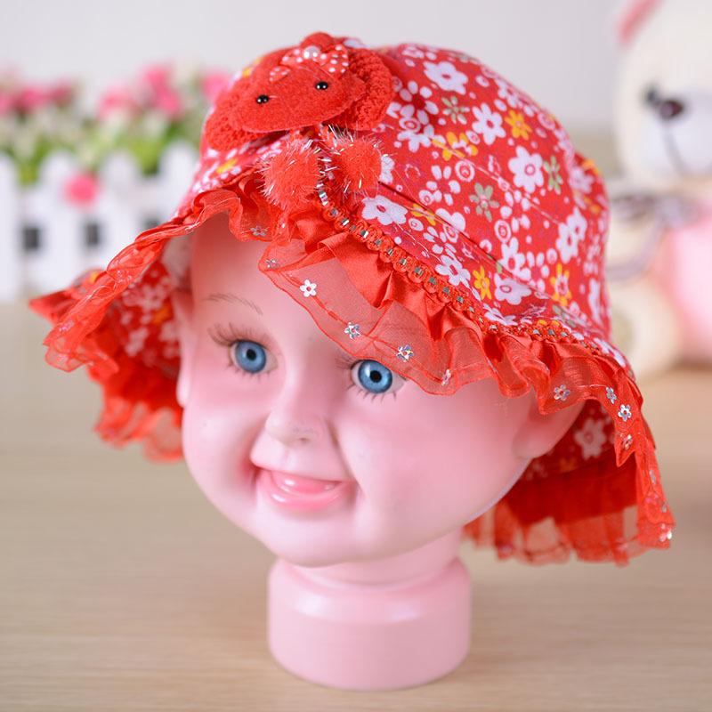 正品 可爱兔头小碎花儿童帽 公主帽遮阳帽女款宝宝 颜色混发