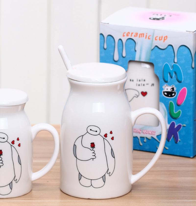 正品 流行卡通大白奶杯(大号带盖) 时尚动漫图案带盖搅棒勺喝牛奶杯子
