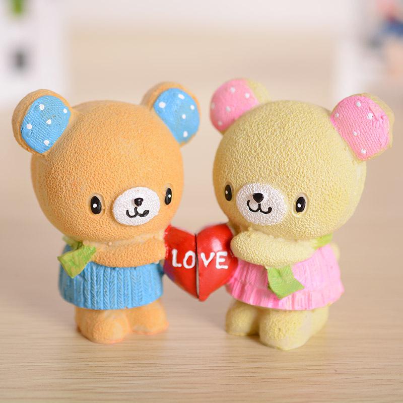 正品sf-1030情侣爱心小熊 创意树脂摆件结婚礼品生日礼物一对价 颜色