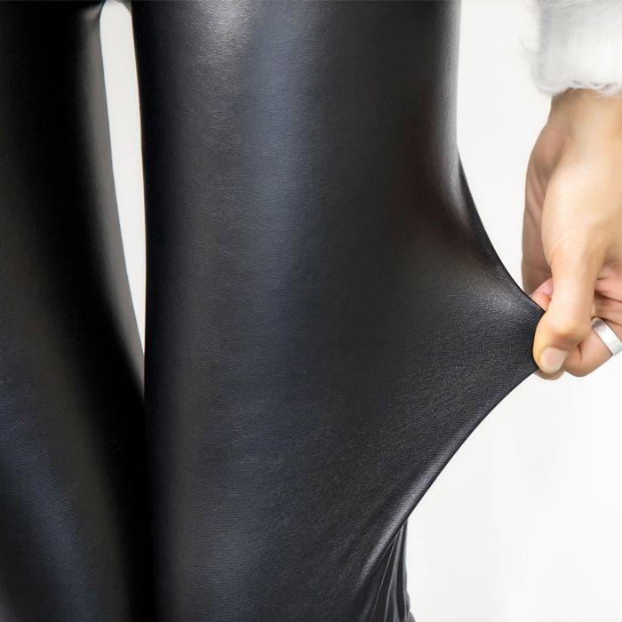 正品 韩国亦薇 显瘦百搭新款小皮裤-加绒高腰款(黑色)