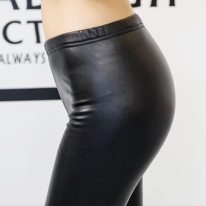 正品 韩国亦薇 显瘦百搭新款小皮裤-加绒低腰款(黑色)